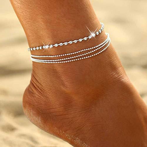 Samtidigt kristall vristlänk silver lager ankel armband strand fot smycken accessoarer justerbar för kvinnor och flickor