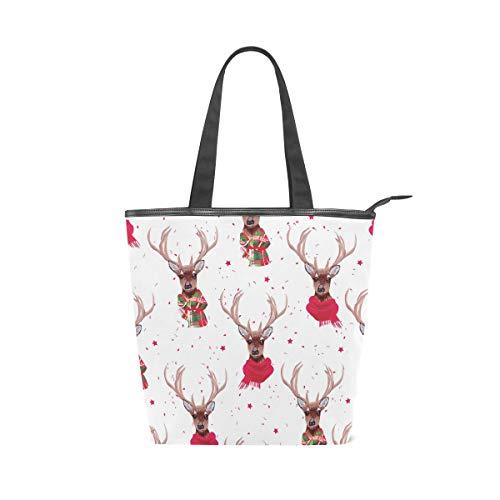 ISAOA bolsa de compras de lona grande, bolsa de mano de reno...