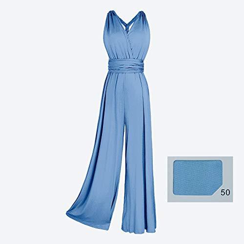 Infinity Jumpsuit Gr. 34-42 Hose und Top in einem. viele Farben Wickelkleid lang, 70 Verschiedene Wickelarten Brautkleid, Abendkleid Kleid lang Maxikleid (Hellblau, 1 (34-42))