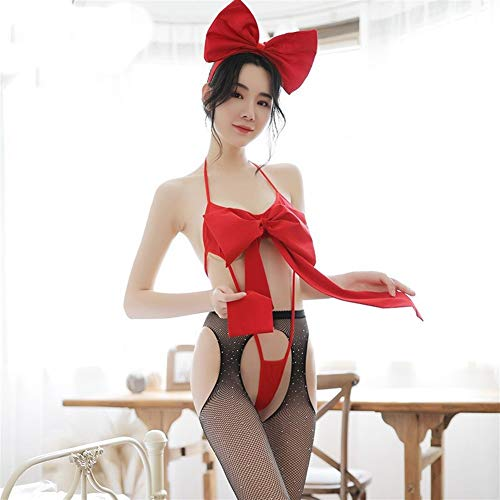 JIQING Night of Passion Hanging Neck Straps Big Bow Naked Zurück Seduction DREI-Punkt-Sexy Overall Erotische Dessous (Color : Red, Size : One Size)
