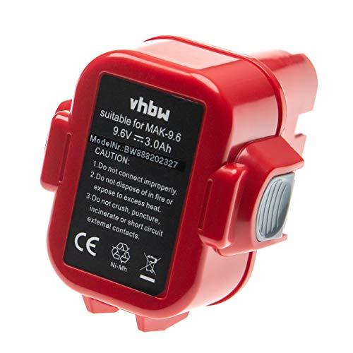 vhbw Batería reemplaza Makita 193156-7, 193977-7, 638344-4-2, 9120, 9122, 9133, 9135A, ML9120 para herramientas eléctricas (3000mAh NiMH 9,6V)