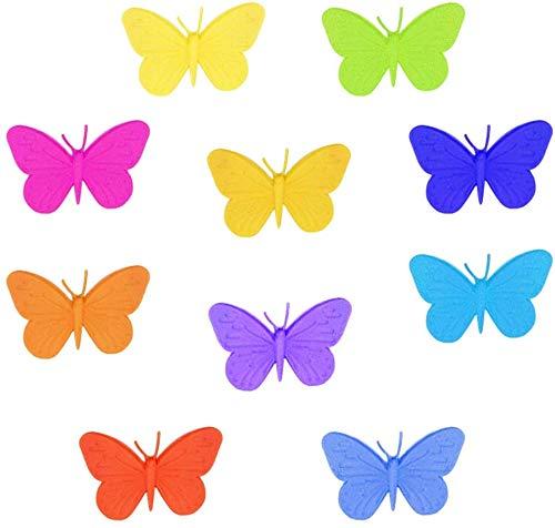 Segnabicchieri in Silicone per Feste-WENTS Amanti del Vino Marcatore segnabicchieri in silicone per Tazze Bicchieri a forma di la farfalla colorati 10pcs