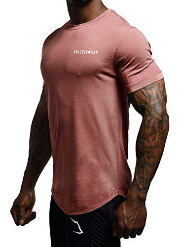 Grizzly Wear Signature T-Shirt   Herren Fitness Sportbekleidung   Sportshirt für Training beim Joggen, Gym Workout oder Lifestyle (Old Rose, S)