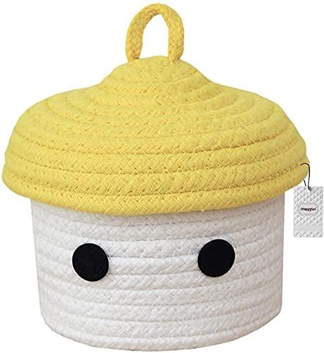 AOOF Pequeña cesta de almacenamiento linda cuerda de algodón caja de almacenamiento tejida con tapa guardería habitación de los niños productos de bebé - amarillo/blanco