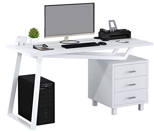 SixBros. Computerschreibtisch mit viel Stauraum, 3 Schubladen, Schreibtisch in weiß, CT-3533/2181