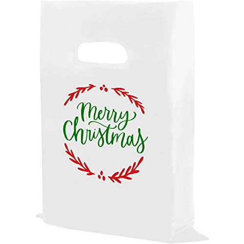 Houseables Thank You Merchandise Bags, Retail Shopping Goodie Bag, Plastic, 100 Pk, 1.75 Mil Thick, Low Density, Glossy, with Handles, for Stores, Boutiques, Clothes