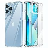 MATEPROX Funda Compatible con iPhone 13 Pro Funda Carcasa Transparente Trasera Rígida Bumper Antigolpes, Ultra Claro Delgado Protector Fundas para iPhone 13 Pro 6,1''-Claro Preciso