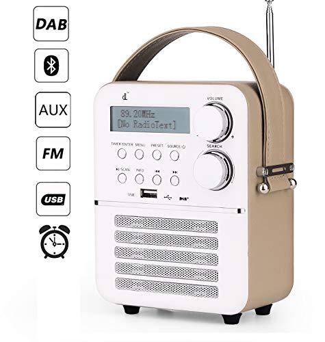 Mini dl Dab Digital Radio con FM, Bluetooth y Reproductor USB, Función de Temporizador y Reloj Despertador con Batería Recargable(1800 mAh)(6.3/4.7/2.9inch)