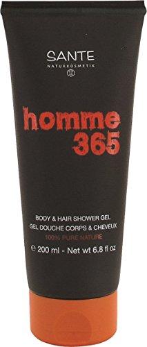 SANTE Natuurcosmetica Homme 365 Body & Hair Shower Gel, voor lichaam & haar, mannelijke geur, plantaardige oppervlakteactieve stoffen, veganistisch, 200 g