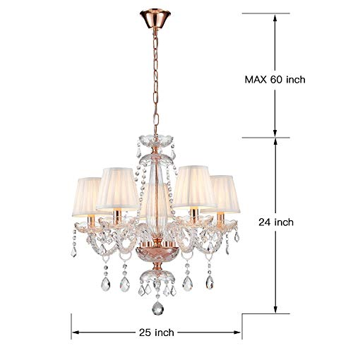 Saint Mossi Moderne Kristallglas Kronleuchter Beleuchtung Deckenleuchter Lampe 5 Arme mit E14 Sockel Rose Gold Finish Stoffschirme - 3