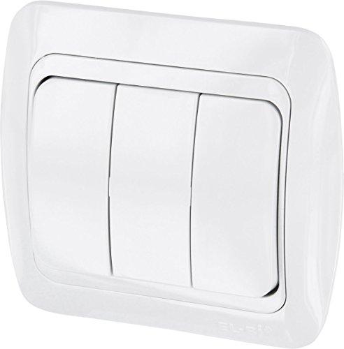 Interruptor triple de UP, todo en uno, marco + montaje empotrado + cubierta (Serie T1 blanco alpino)