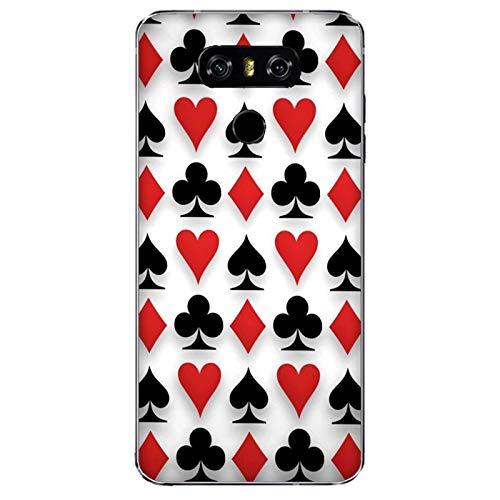 Funda G6 Carcasa Compatible con LG G6 Juego de póquer Fondo de Corazones, Diamantes y Espadas/Imprimir también en los Lados. / Teléfono Hard Snap en Antideslizante Antideslizante Anti-Rayado resi