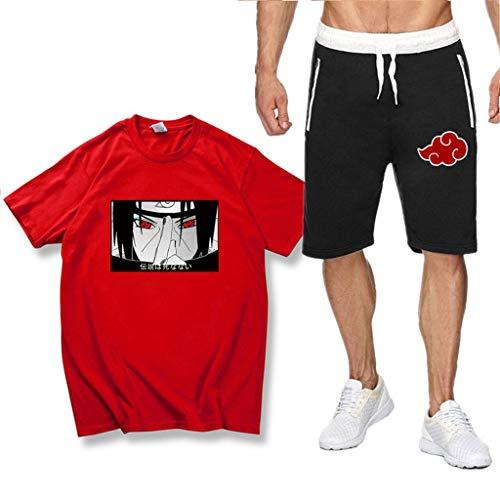SAFTYBAY Naruto Uchiha Itachi Shirts and Shorts Sets for Mens Boys Naruto Anime Graphic Outfit Kids Summer Tshirt Tracksuit (4,S)