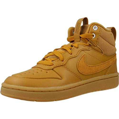 Nike Unisex Kinder Court Borough MID 2 Boot (PS) Sneaker, Wheat/Wheat-Gum Medium Brown, 33.5 EU