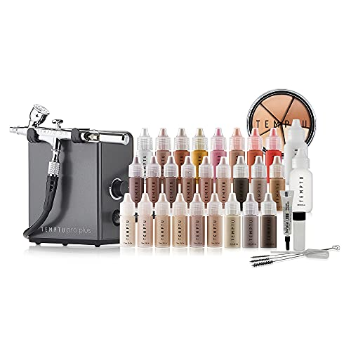 TEMPTU Pro Plus Deluxe Complete Airbrush Kit: Airbrush Makeup Set for Pros Includes Blushes, Highlighters, S/B Foundation, Contour & Bronzer Colors, and Concealer, Travel-Friendly