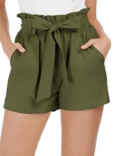 GRACE KARIN Pantaloncini Donna Eleganti di Vita Alta con Fiocco vestibilità Slim Primavera Estate Verde Oliva XL CLAF1093-3