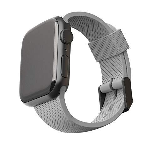 U by UAG [U] Dot Strap Silikon Armband für Apple Watch 42mm / 44mm [Watch SE, Series 6 / Series 5 / Series 4 / Series 3 / Series 2 / Series 1, Weiches Silikon, Edelstahl Verschluss] grau