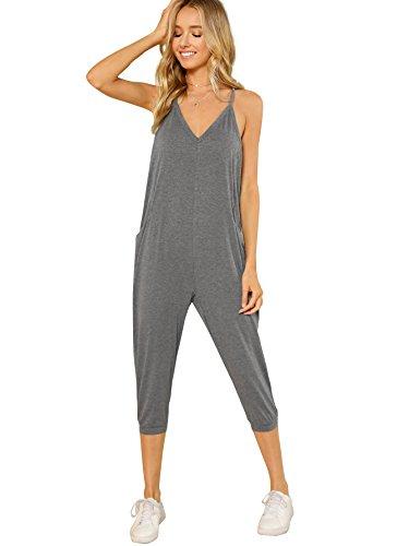 DIDK Women's V Neck Spaghetti Strap Harem Leg Cami Jumpsuit Grey Small