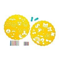 HearthSong Chalkscapes Emoji Stencils & Chalk Kit