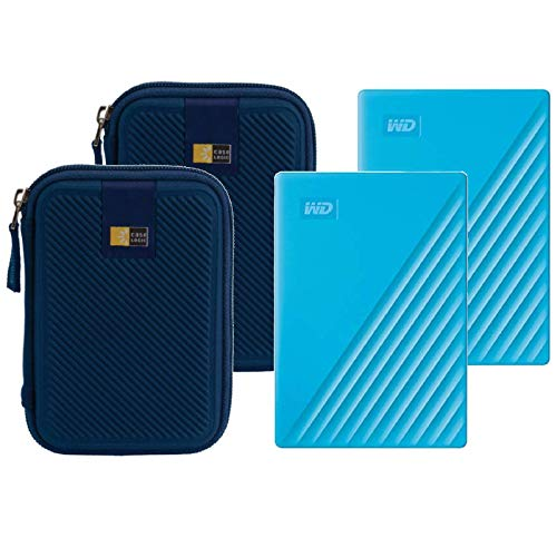 2 WD 4TB My Passport USB 3.2 Gen 1 External Hard Drive (2019, Sky) + 2 Compact Hard Drive Cases (Blue)