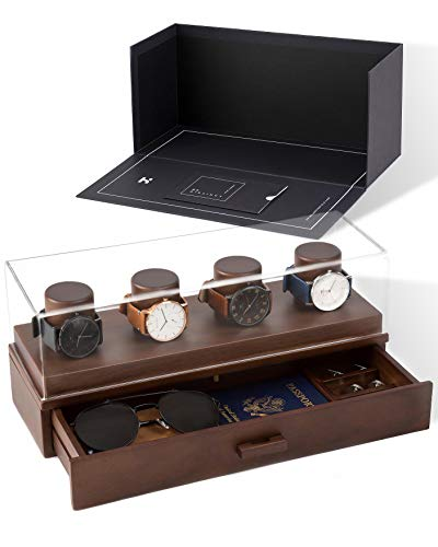 Watch Box Organizer For Men - Modern Watch Display Case and Mens Jewelry Box Organizer With Walnut Finish - Mens Accessory Valet Tray Organizer With Innovative Design Watch Holder and Mens Jewelry Box