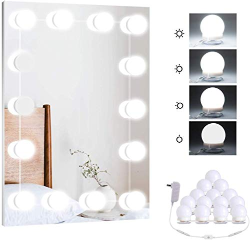Hollywood Vanity Mirror Lights Kit with 14 LED Light Bulbs for Makeup, Dimmable Mirror Stick On Lights for Room, Lighting Fixture Strip Vanity Table Set, White (No Mirror Included)