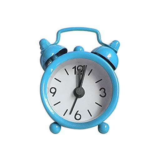 HOT!Liusdh Tischuhren Wecker Mini Doppelglockenwecker, Klassik Wecker Clock mit Nacht Licht, lauter Alarm, kein Ticken, geräuschlos, Wecker große Zahlen,Blue#2