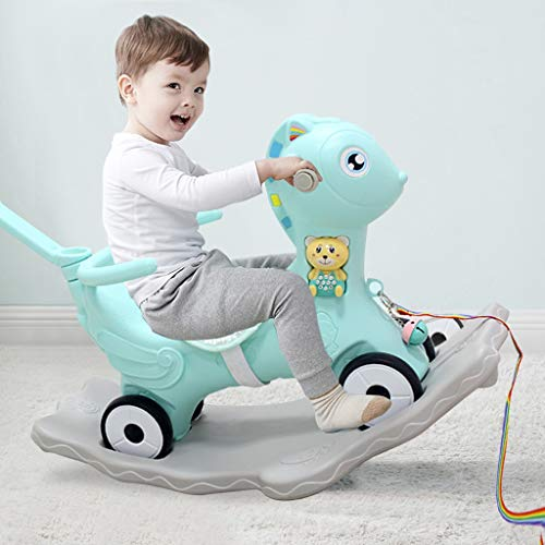 WHKL 2 in 1 Rocking Horse for Toddlers 1-6, Baby Ride-on Toys, Cute Deer Rocker for Boys & Girls Rocking Animal for Indoor & Outdoor Activities