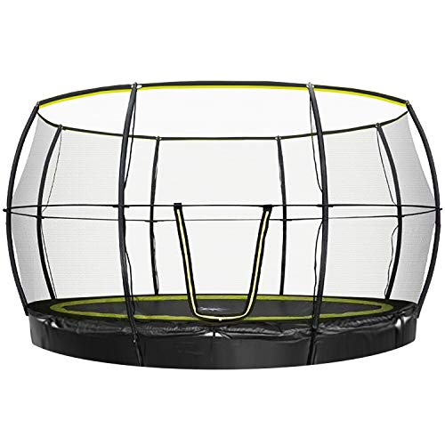 Rebo Flush FIt Inground Base Jump Trampoline with Halo ll Enclosure - 12FT