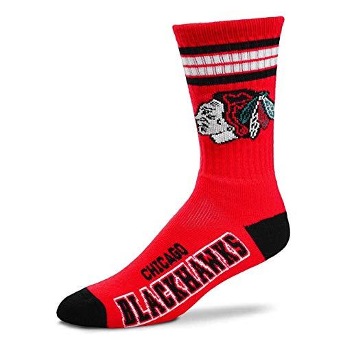 Chicago Blackhawks For Bare Feet 4-Stripe Deuce Team Color Performance Crew Socks Mens Size 5-10