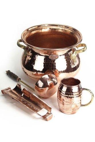 CopperGarden® SET ❀ Feuerzangenbowle Kupfer ❀ Kupferkessel, Feuerzange, Schöpfkelle, Kupfertasse und Zuckerhut