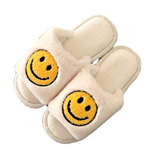 [アドグレイス] ad16 スマイル ニコちゃんマーク スマイリー スリッパ ルームシューズ 洗える タオル地 室内 おしゃれ かわいい 厚底 シンプル インテリア フラット 静音 履きやすい トイレスリッパ お手洗い ラバーソール 女の子 女性用 婦人