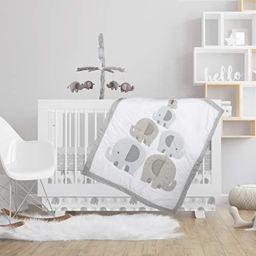 Lolli Living Lolli 4-Piece Baby Crib Bedding Set-Bailey Elephant-Premium Quality 100% Cotton for Best Comfort - Complete Set w/Quilt, 2 Fitted Sheets & Bed Skirt | Nursery,Boy,Girl,Unisex,Infant