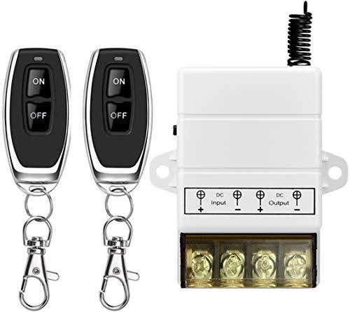 DONJON Interruptor Remoto inalámbrico con 328 pies de Largo Alcance DC 12V/24V/72V para alarmas antirrobo,Puertas Lind del Rodillo de Seguridad, barreras para Puertas,ciclos de Motor (12V White)