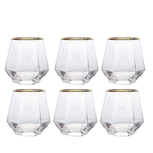 Yinyimei Vasos de Agua Copa de Diamante de Cristal Creativo Oro Pintado...