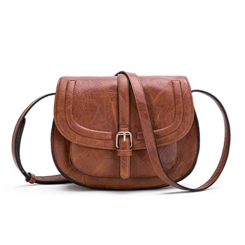 """Crossbody Bags for Women,Small Saddle Purse and Satchel Handbags,Size/L 11"""" Brown"""