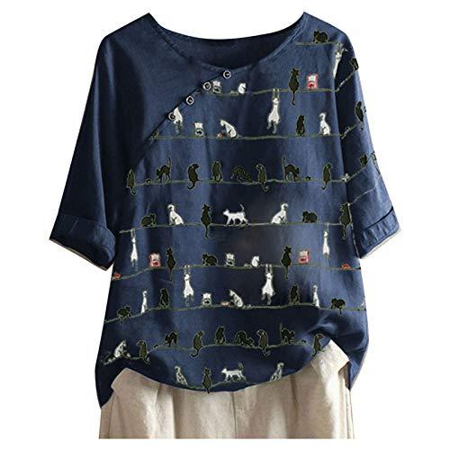 レディース トップス wonitaaizi チュニック 夏 半袖/長袖 ゆったり カットソー 多色 猫柄 ブラウス 半袖 おしゃれ チュニック ロングtシャツ 大きいサイズ 上着 体型カバー プルオーバー 通勤 通学 デート