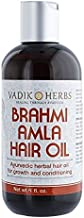 Brahmi-Amla Hair Oil (4oz) by Vadik Herbs   Promotes excellent hair growth and hair conditioning   all natural herbal solution for hair loss, thinning hair, balding   Great as a beard oil as well