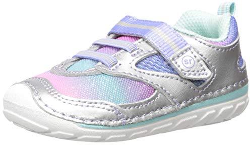 Stride Rite Girls' SM Adrian Sneaker, Silver/Multi, 4.5 M US Toddler
