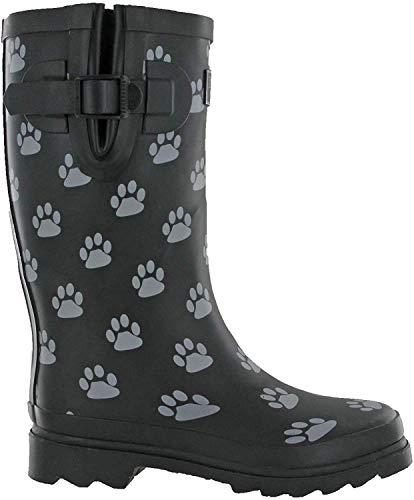 TOSH Gummistiefel für Damen mit Hundepfoten-Motiv, halb oder vollständig bedruckt, Schwarz, Schwarz - schwarz grau - Größe: 40 EU