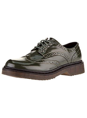 oodji Collection Damen Oxford-Schuhe aus Lederimitat, Grün, 38 EU / 5 UK