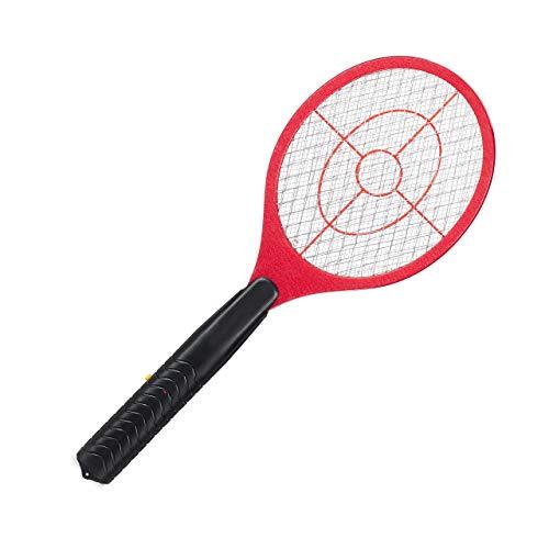 Relaxdays Tapette à moustique Électrique Raquette Électrique Insectes Volants Mouches, Rouge