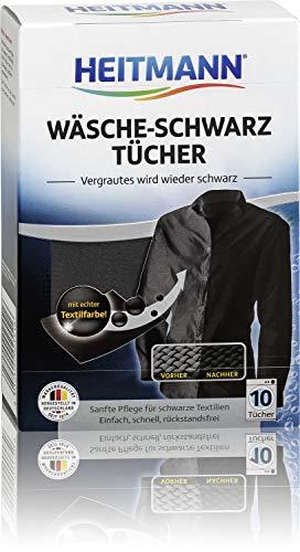 Heitmann Wäsche Schwarz Tücher (10 Tücher, Schwarz): Färbetücher zur Farbpflege für schwarze Textilien, Farb-Erhalt beim Waschen, Rückstandsfreie Pflege gegen Verblassungen