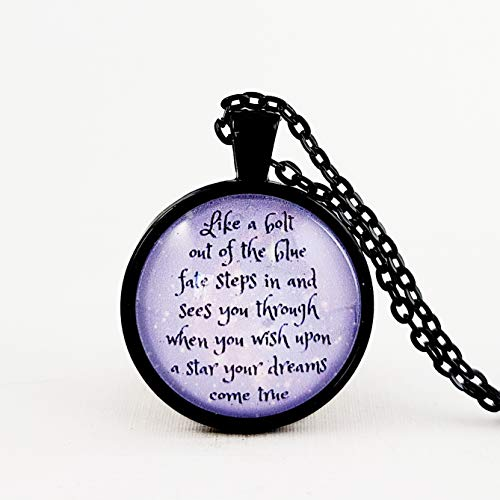 Jiminy Cricket Pinocchio Quote Necklace when you wish upon a star dreams come true