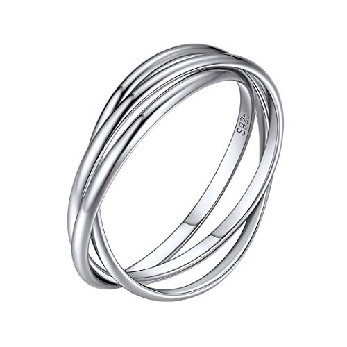 Triple Interlocked Rolling High Polish Ring 925 Sterling Silver Mini Rings for Women Minimalist Jewelry