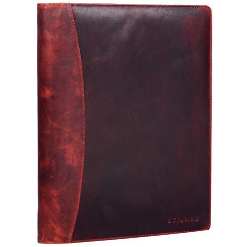 STILORD 'Vincent' Portadocumentos de Piel Vintage con Anillas Carpeta de conferencias o portafolios para Documentos DIN A4 Organizador de auténtico Cuero, Color:Kara - Rojo