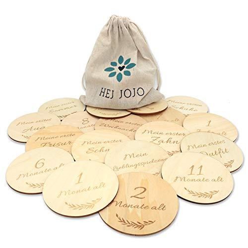 Hej Jojo 50 Meilensteinkarten aus Holz als Geburtsgeschenk, Taufe, Schwangerschaft oder Babyparty mit 25 Holzkarten (Ø 10cm) beidseitig bedruckt