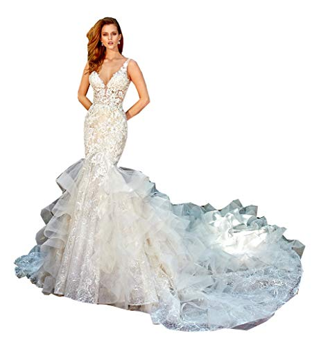 Melisa Women's V Neck Sleeveless Lace Sequins Mermaid Wedding Dress for Bride with Ruche Train Tulle Bridal Ball Gown White