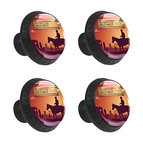 SENNSEE Wild West Cowboy Schubladengriff, runde Schubladenknöpfe und Ziehgriffe, Kristall-Klasse, für Schrank, Schublade, Küche, Kommode, 4 Stück