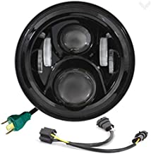 Eagle Lights 7-Inch Round Generation II Black LED Headlight for Harley Davidson with Dual Bulb Harness